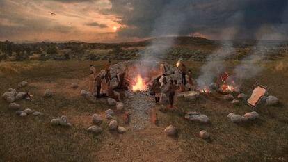Reconstrução do último jantar antropofágico do grupo humano que ocupou Reinoso (Burgos) há 5.500 anos.