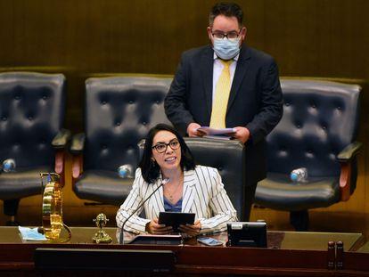La diputada Suecy Callejas, del oficialista Nuevas Ideas, durante la instalación de la nueva Asamblea Legislativa en El Salvador.