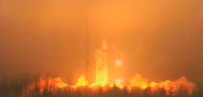 Lançamento do foguete Rockot com os três satélites Swarm.