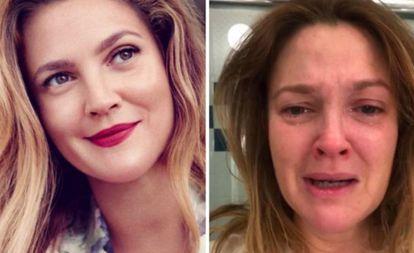 Drew após uma sessão de maquiagem. Na foto à direita, um dia triste para a atriz.
