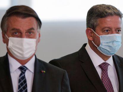 O presidente Jair Bolsonaro e o presidente da Câmara dos Deputados, Arthur Lira (PP-AL), no último dia 22.