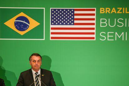 Presidente Bolsonaro fala durante um seminário na Flórida, em Miami, em março de 2020.
