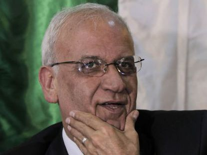 O negociador-chefe da OLP, Saeb Erekat, nesta quinta-feira.