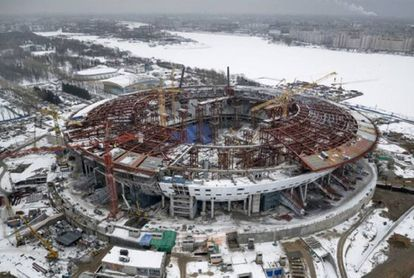 Estado das obras no estádio de São Petersburgo.