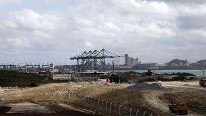 Vista das obras de ampliação do porto de Mariel.