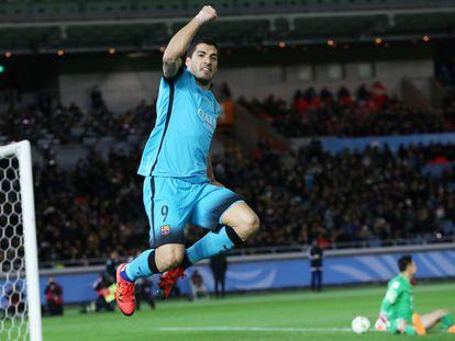 Suárez comemora gol contra o Guangzhou.