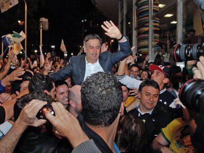 Aécio Neves neste domingo em Belo Horizonte.