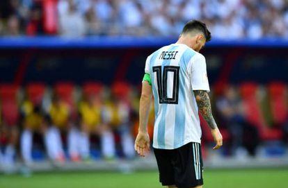 Messi, em seu último jogo pela Argentina, contra a França, na Copa da Rússia.