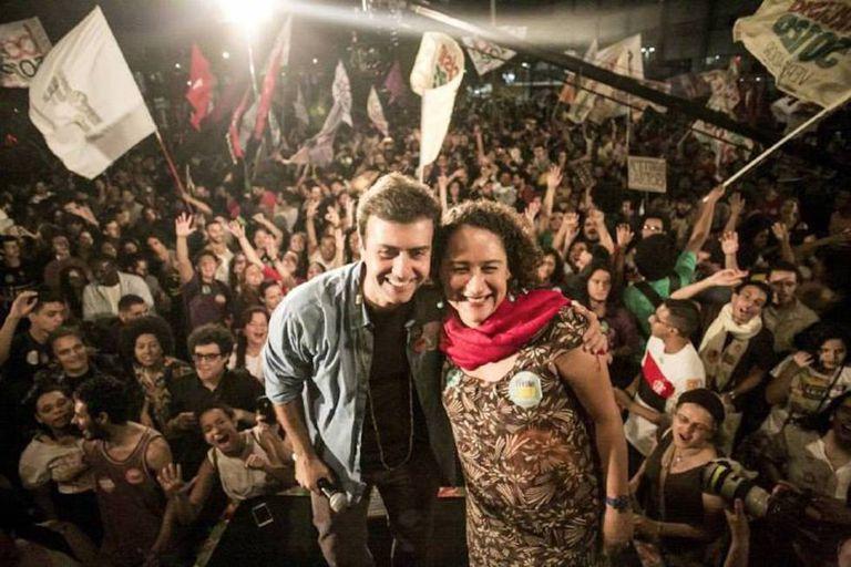 Marcelo Freixo e sua vice, Luciana Boiteux, no último dia 15 no Rio de Janeiro.
