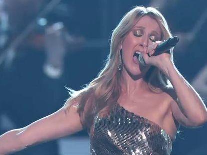 Celine Dion cantou 'The Show Must Go On', do Queen, que dedicou a seu marido, René Angelil, falecido no começo do ano.