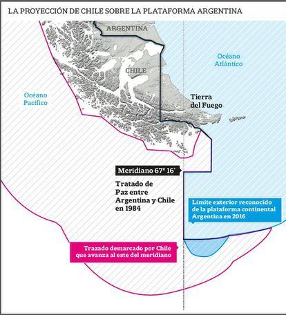 Mapa elaborado pelo Ministério das Relações Exteriores da Argentina que mostra em azul a porção da plataforma marítima disputada com o Chile.