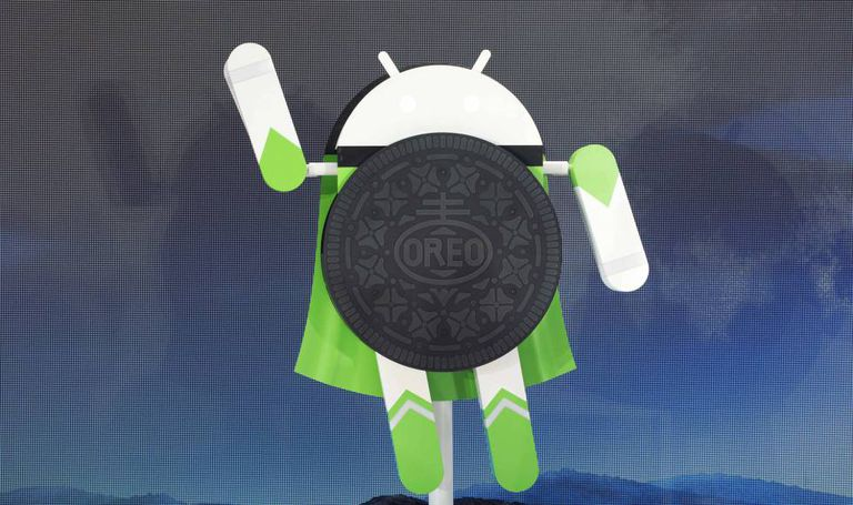 Escultura do Android 8.0 Oreo, novo sistema operacional do Google, no evento de lançamento em Nova York.