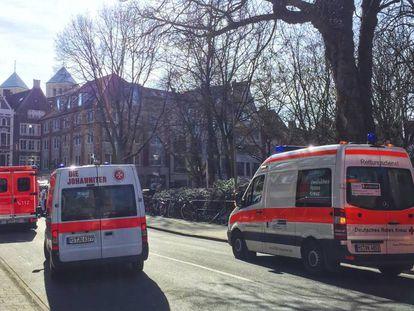 Ambulâncias em Munster, local do acidente.