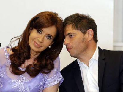 A presidenta de Argentina, Cristina Fernandez de Kirchner, e o ministro de Economia, Axel Kicillof, em uma reunião na Casa Rosada em 30 de janeiro.