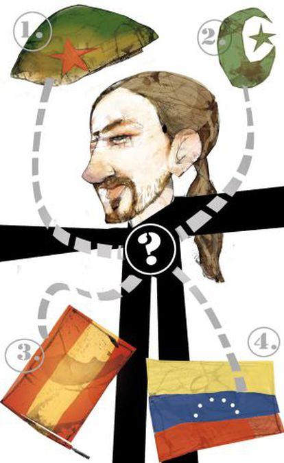 Pablo Iglesias, do Podemos, em ilustração de