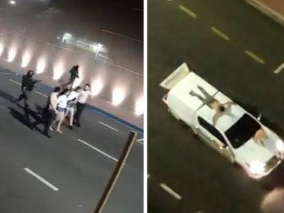 Capturas de vídeo mostram reféns sendo levados por assaltantes em Araçatuba (SP). Vítimas foram amarradas a veículos como 'escudo humano'.