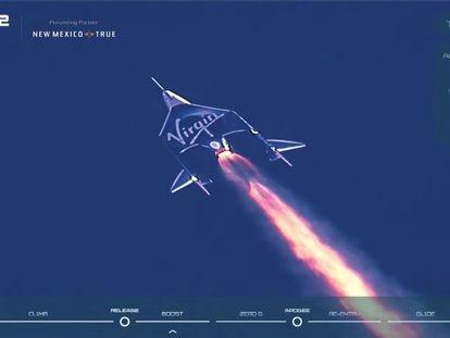 A nave 'Unity', da Virgin Galactic, começa sua ascensão neste domingo, com o bilionário Richard Branson a bordo.