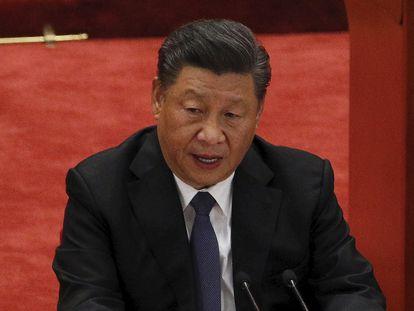 O presidente Xi Jinping, em um discurso para comemorar o 70º aniversario da entrada do exército chinês na Coreia do Norte, em 3 de outubro de 2020.