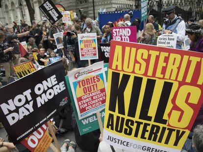 Protestos contra a austeridade em Londres esta semana.