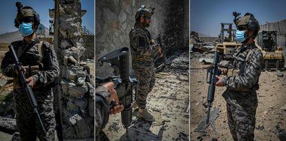 Talibãs na ex-sede da CIA em Cabul, no dia 6.