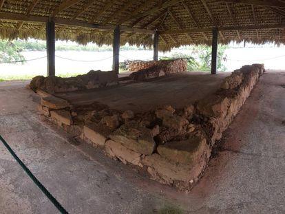 Restos da casa americana de Cristóvão Colombo em La Isabela.