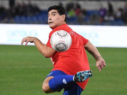 Maradona, no Jogo da Paz em Roma.