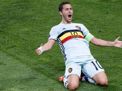 Hazard festeja seu gol contra a Hungria.
