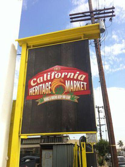 Cartaz de boas vindas da feira California Heritage Market.