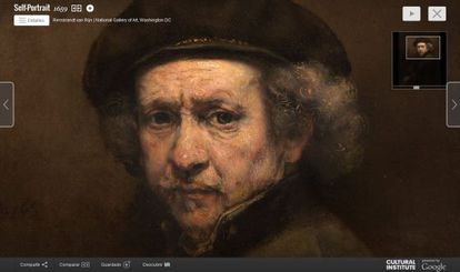 Ampliação do 'Autorretrato' de Rembrandt que pode ser observado no Google Cultural Institute.