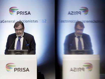 Juan Luis Cebrián, na reunião dos acionistas de 2012.