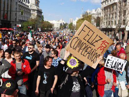 Manifestação do 15-M em Madri.