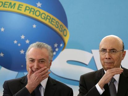 Presidente Michel Temer e o ministro da Fazenda, Henrique Meirelles, durante evento no Planalto.