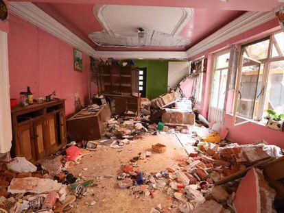 O interior de uma casa em Xochimilco