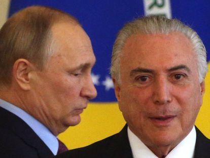 Temer e Putin em Moscou.