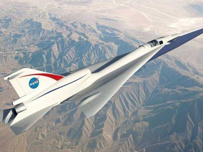 Imagem da NASA do protótipo de avião supersônico silencioso.