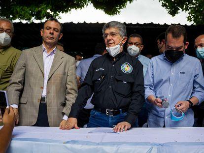 Henry Ramos Allup, líder do partido social-democrata Ação Democrática, nesta terça-feira em Caracas.