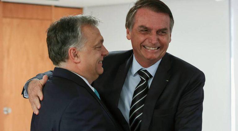 Jair Bolsonaro e o ultradireitista húngaro Viktor Orban.