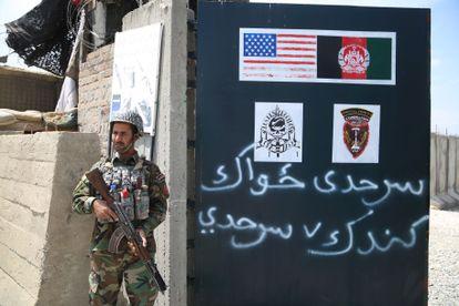 Um soldado do Exército afegão no distrito de Haska Meyna, na província de Nangarhar, em 14 de abril de 2021.
