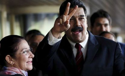 Maduro e sua mulher, Cilia Flores, chegam ao Conselho de Direitos Humanos das Nações Unidas, em Genebra.