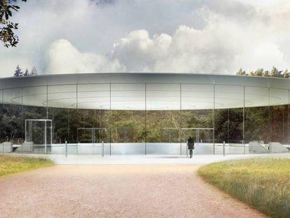 Recriação da entrada do Apple Campus. No vídeo, o Apple Park em construção.