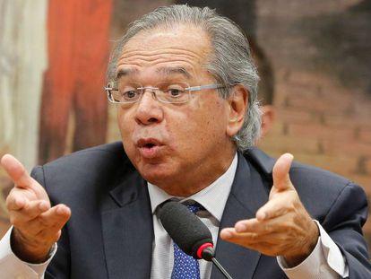 O ministro Paulo Guedes na CCJ da Câmara.