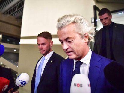 Geert Wilders, na noite de quarta-feira, após as eleições.