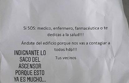 Imagem da advertência enviada ao farmacêutico Fernando Gaitán no elevador de seu prédio de Buenos Aires.