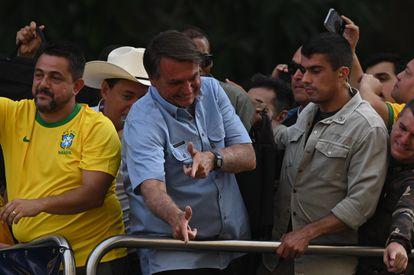 Jair Bolsonaro durante ato em São Paulo.