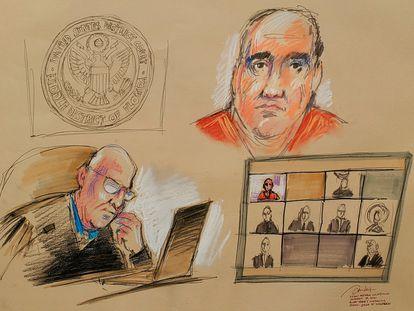 Alex Saab comparece perante o juiz norte-americano John J. O'Sullivan por link de vídeo durante a leitura das acusações contra ele em um tribunal federal em Miami, Flórida.