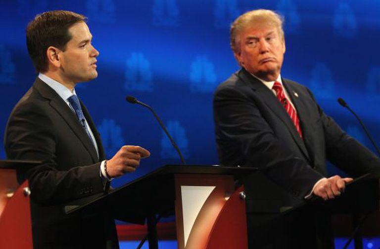 Marco Rubio (à esq.) e Donald Trump.