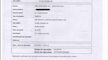 Comprovante bancário de repasse à PDA Projeto, uma empresa do coronel Lima, que empreiteiro disse ser destinado a Temer