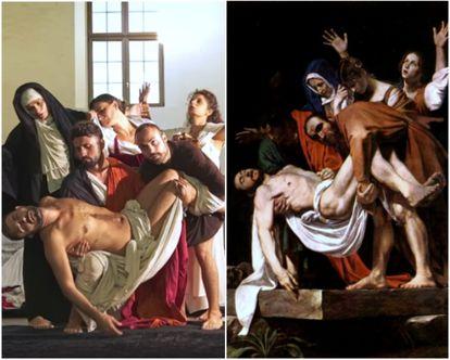 Recriação de 'O Sepultamento de Cristo'', de Caravaggio (1602-1604).