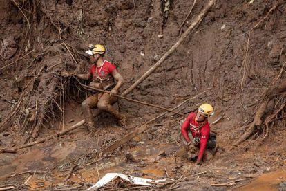 Equipe de resgate trabalha em Bento Rodrigues.