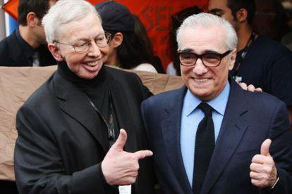 O crítico de cinema Roger Ebert com Scorsese em Cannes em 2008